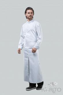Фартук длинный с оригинальным поясом, разрезом спереди и карманом