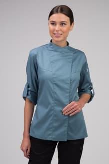 Китель поварской женский, рукав с патой, застежка на потайные кнопки, сине-серый