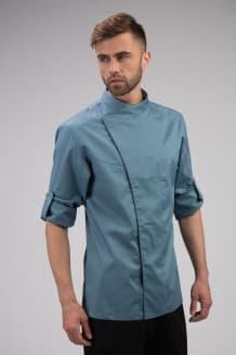 Китель поварской мужской приталенный, длинный рукав с отворотом на кнопку, серо-синий