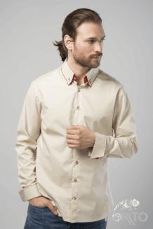 Рубашка мужская, длинный рукав, двойной воротник и манжеты, пристегивается на пуговицу