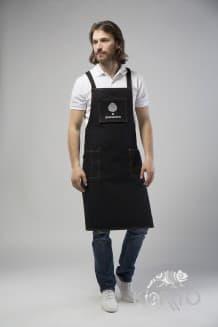 Фартук официанта с крестообразными завязками на спине,люверсами и карманами