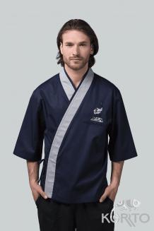 Кимоно поварское мужское с рукавом 3/4 и фигурной планкой