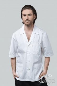 Куртка повара мужская, с отложным воротником и коротким рукавом, на пуговицах