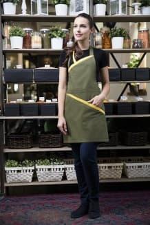 Фартук официанта с грудкой и контрастной отделкой