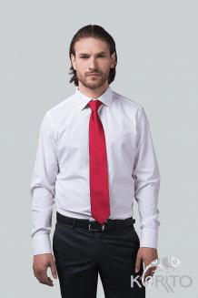 Рубашка мужская, приталенная с длинным рукавом, воротник отложной на стойке