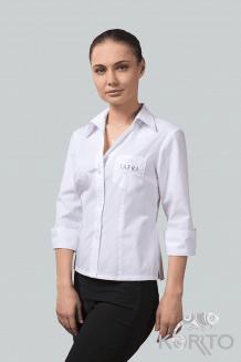 Блузка женская приталенная с рукавом 3/4 и отложным воротником на стойке
