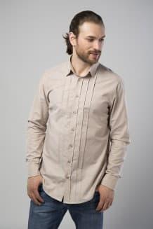 Рубашка мужская, с длинным рукавом и защипами спереди