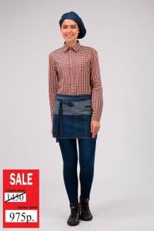 Фартук джинсовый короткий с накладным карманом на 5 отделений, синий