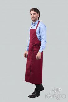 Фартук официанта с грудкой и разрезом, 2 кармана «в листочку»