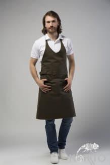 Фартук с грудкой, двойным накладным карманом и поясом с пряжкой