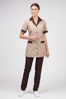 Комплект женский №6, бежевый с коричневой отделкой и брюками в тон отделки верха