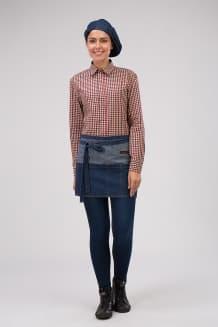 Фартук джинсовый короткий с накладным карманом на 5 отделений