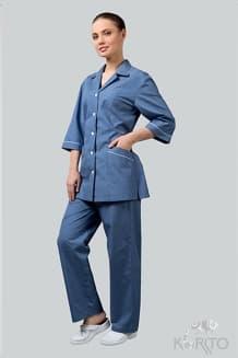 Комплект женский №2, голубой с белым кантом