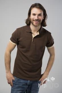 """Футболка - поло """"унисекс"""" коричневая с бежевой отделкой, с коротким рукавом"""