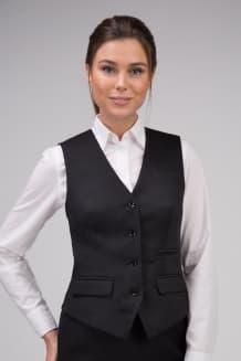 Жилет женский классический на подкладке с прорезными карманами в рамку дополненными клапаном и одним карманом в листочку на талии слева