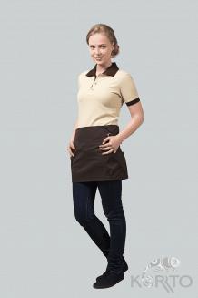 Фартук официанта короткий с объемными накладными карманами