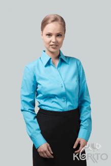 Блузка женская приталенная с длинным рукавом и отложным воротником
