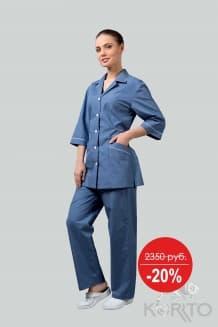 Комплект женский, голубой с белым кантом.