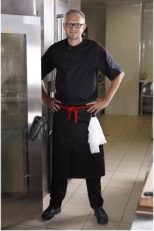 Фартук шеф-повара поясной длинный со шлицей и кольцом для ручника