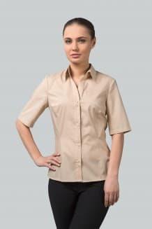 Блузка женская приталенная с коротким рукавом и отложным воротником на стойке