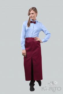 Фартук длинный с боковыми карманами и разрезом спереди