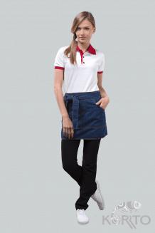 Фартук джинсовый короткий с большим накладным карманом