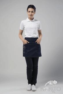 Фартук официанта джинсовый с фигурными накладными карманами