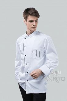Китель поварской мужской однобортный, длинный рукав с манжетой, застежка на кнопки