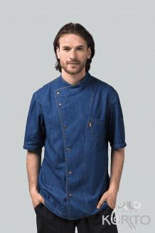 Китель поварской мужской джинсовый с коротким рукавом