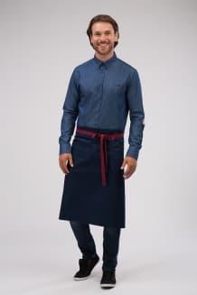 Рубашка мужская джинсовая с отделкой на локтях и накладным карманом на груди