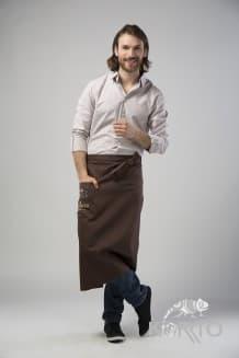 Фартук официанта длинный с боковым карманом и притачным поясом